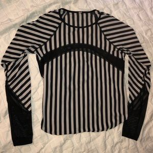 Lululemon B&W Striped Long Sleeve with Mesh